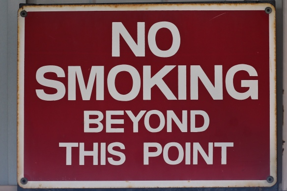 No Smoking beyond this point.